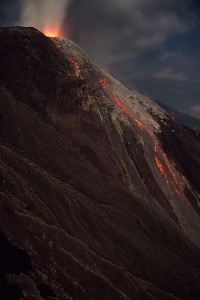 Santiaguito Eruption Night Incandescent Rockfalls