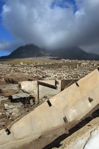 Destruction Plymouth Montserrat, burned by Pyroclastic Flows, Buried by Lahars