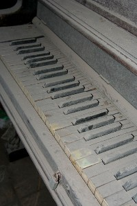 Volcanic Ash Coated Piano, Plymouth, Montserrat, Soufriere Hills Volcano