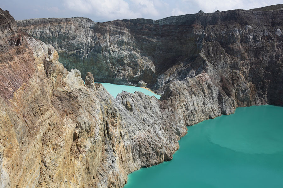 Colourful blue and turquoise crater lakes, Kelimutu volcano, Flores, Indonesia