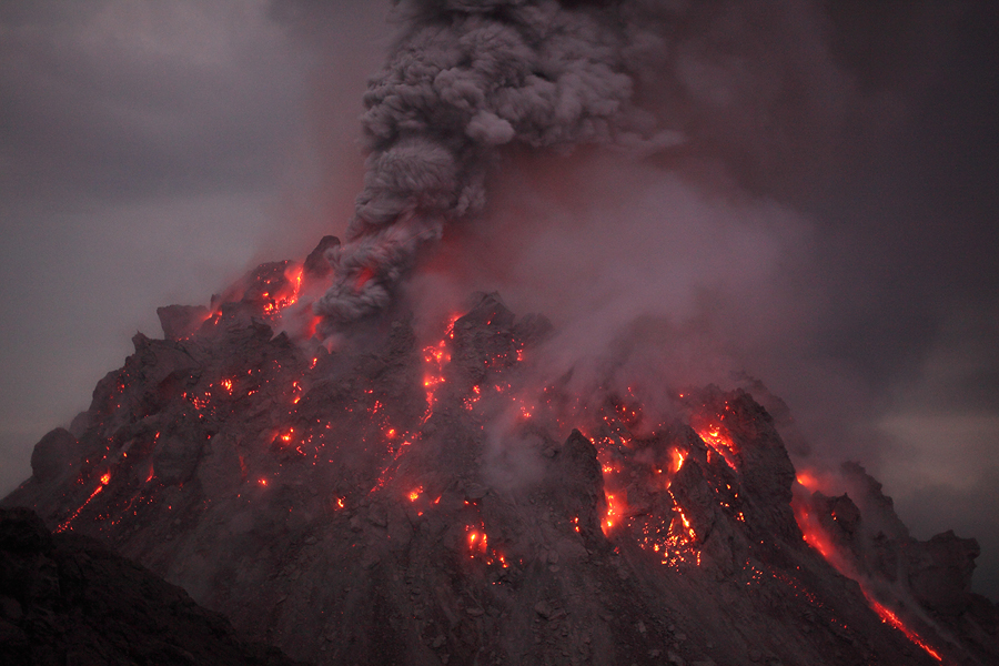Nighttime Ash venting from Paluweh (Rokatenda) volcanoes 2012 Rerombola lava dome