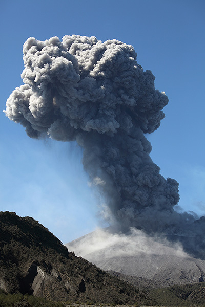 Sakurajima volcano, vulcanian eruption, ash cloud with mushroom shape