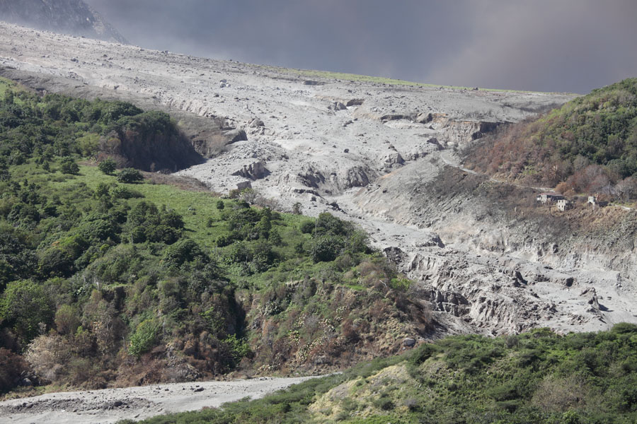 Soufriere Hills Volcano, Paradise Ghaut filled with pyroclastic flow deposits, Montserrat